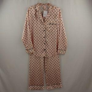 Victoria's Secret Pink Polka Dot Satin Pajama Set